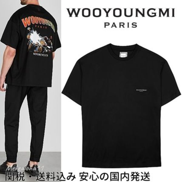 Wooyoungmi☆Black logo print cotton Tシャツ BTS着用ブランド