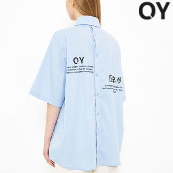 ★OY★BACK BUTTON HALF SHIRTS-SKYBLUE★正規品/韓国直送料込