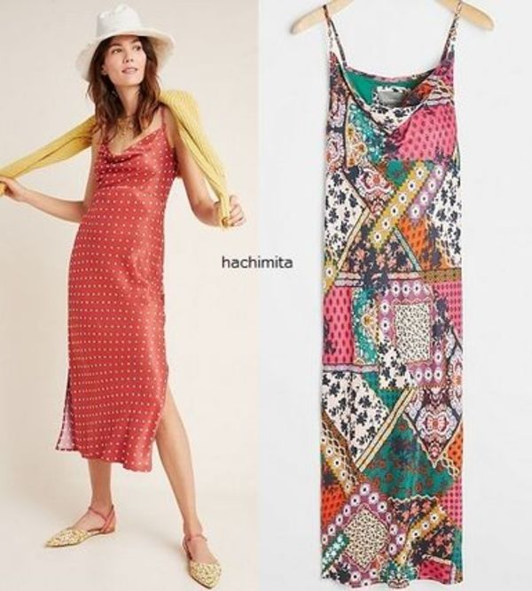 セール! Anthropologie Printed Bias Slip Dress