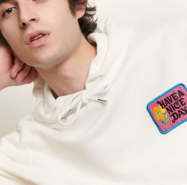"""sandro homme"" Hoodie with embroidered patch White"