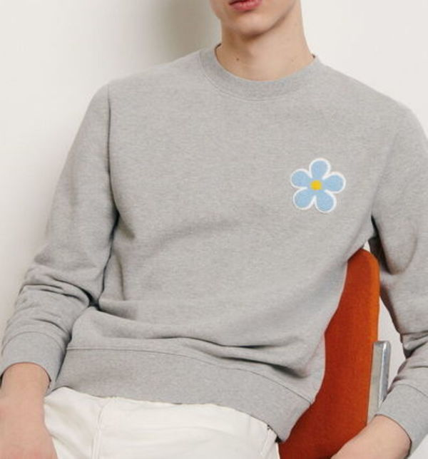 """sandro homme"" SWEATSHIRT WITH EMBROIDERED PATCH GRAY"