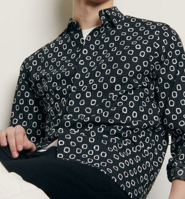 """sandro homme"" PRINT COTTON SHIRT BLACK"