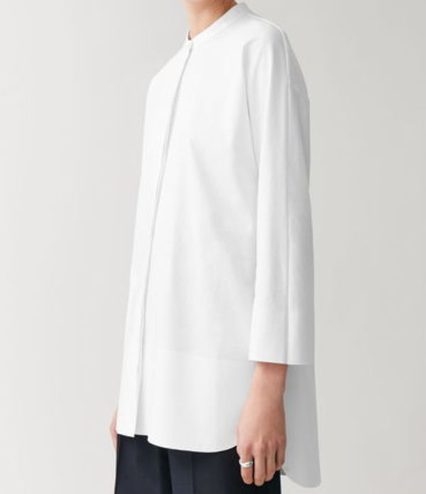 """""""COS"""" COTTON SHIRT WITH BONDED HEM WHITE"""