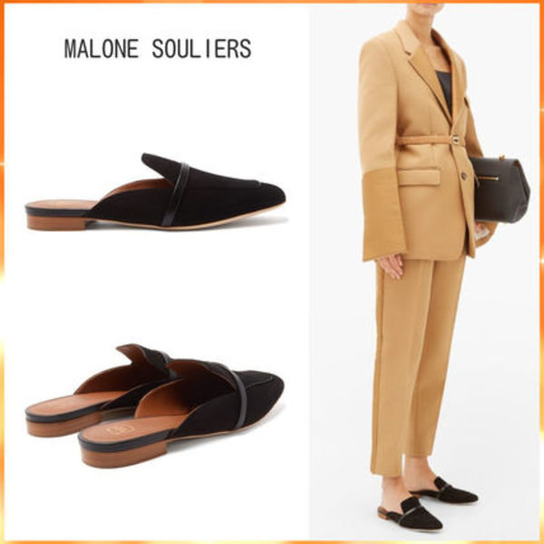 MALONE SOULIERS スエード バックレスローファー