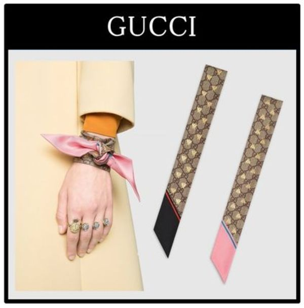 ☆GUCCI☆GG bees silk neck bow☆シルク100%☆2カラー