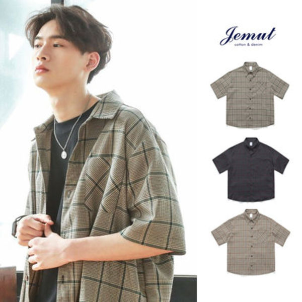 Jemut正規品★20SS★全3色★Hound Tooth Check Shirts★UNISEX
