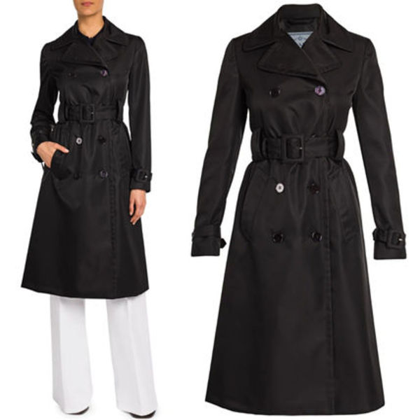 PR2339 DOUBLE BREASTED NYLON TRENCH COAT