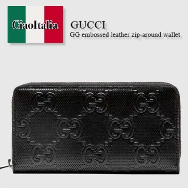 Gucci  GG embossed leather zip-around wallet