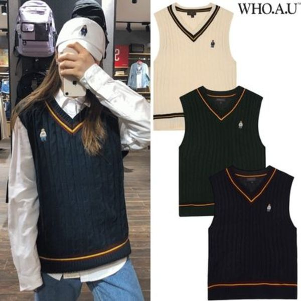 【WHO.A.U】韓国発★ 20fw CABLE VEST ベスト 3色 男女兼用★