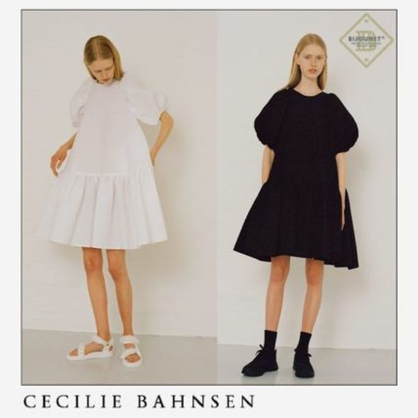 *CECILIE BAHNSEN* アレクサ パフスリーブ カーフ ワンピ 黒 白