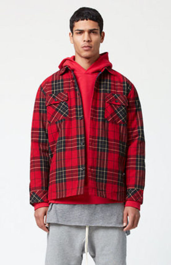 FW15 FOG FEAR OF GOD PLAID SHACKET JACKET RED S-XL 送料無料