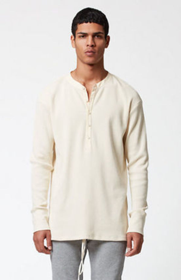 FW15 FEAR OF GOD LONG SLEEVE WAFFLE KNIT HENLEY SHIRT S-XL