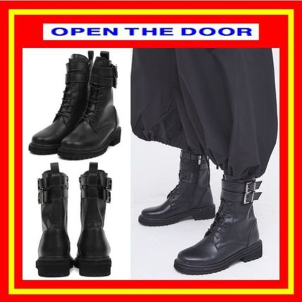 [OPEN THE DOOR] leather double strap walker boots /追跡付
