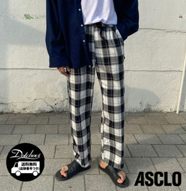 ASCLO Basic Checked Banding Pants (2 colors) YI386 追跡付