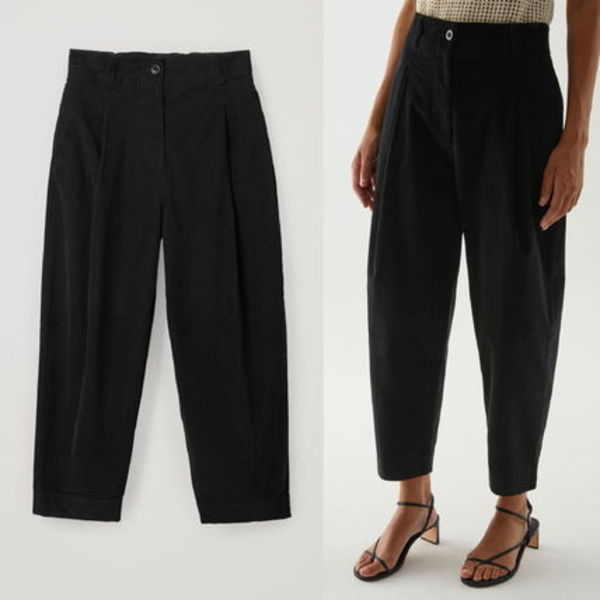 """COS"" ORGANIC COTTON WIDE-LEG PLEATED CORD TROUSERS BLACK"