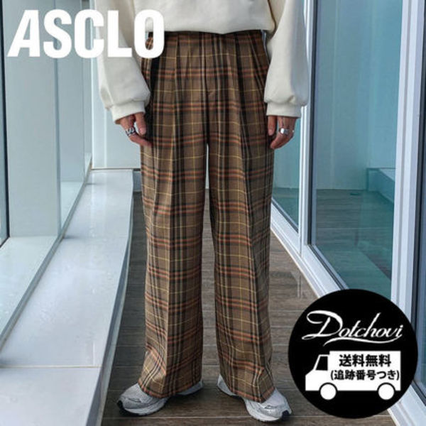 ASCLO Sik Long Wide Check Flare Slacks (Brown) OH306 追跡付
