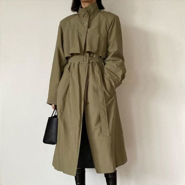 [AMOMENTO]☆HIGH NECK TRENCH COAT (2COLORS)☆韓国発