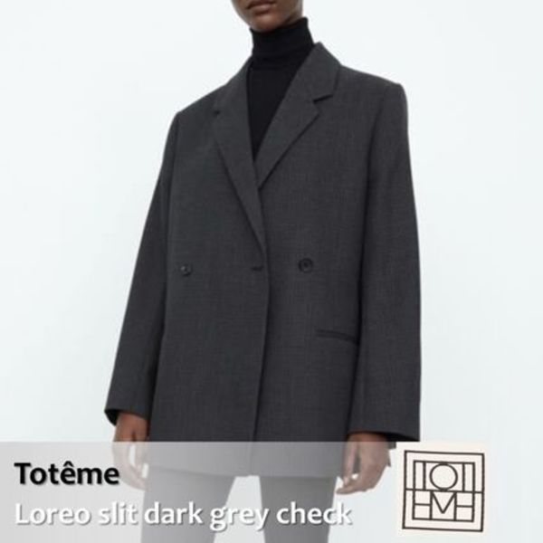 Toteme :: Loreo slit dark grey check ウールブレザー