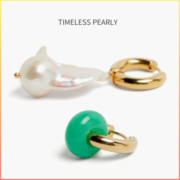 TIMELESS PEARLY ミスマッチ パール フープピアス