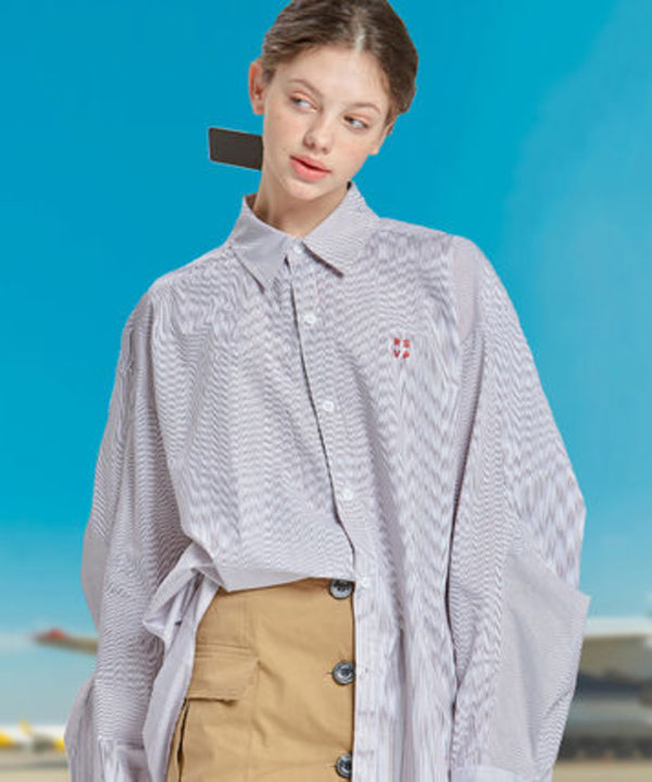 【RSVP】TWO TUCK SLEEVES OVER-FIT SHIRTS (UNISEX) - RED