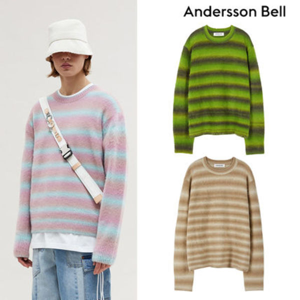 ★ANDERSSON BELL★UNISEX BRUSHED ALPACA BLEND STRIPE SWEATER