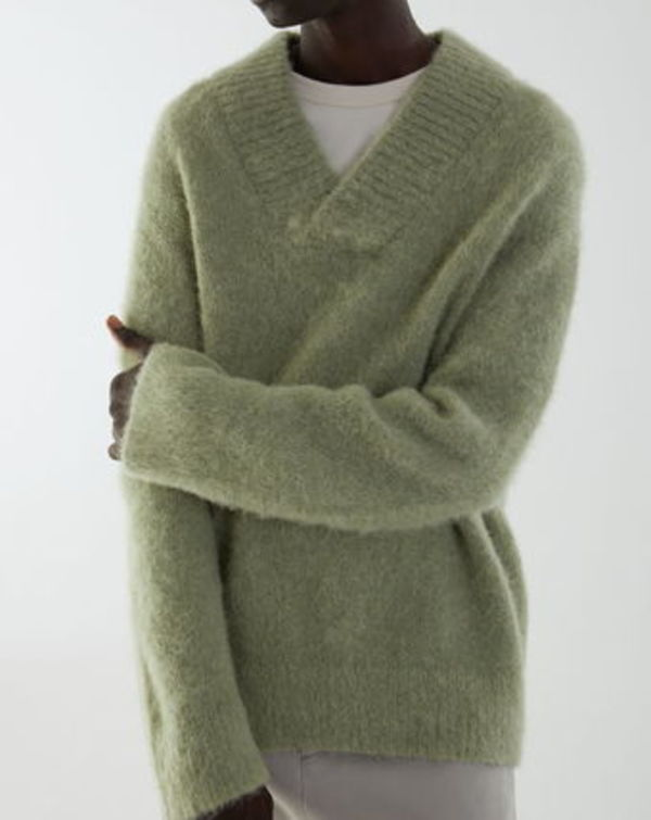 """COS MEN"" V-NECK WOOL-ALPACA JUMPER GREEN"