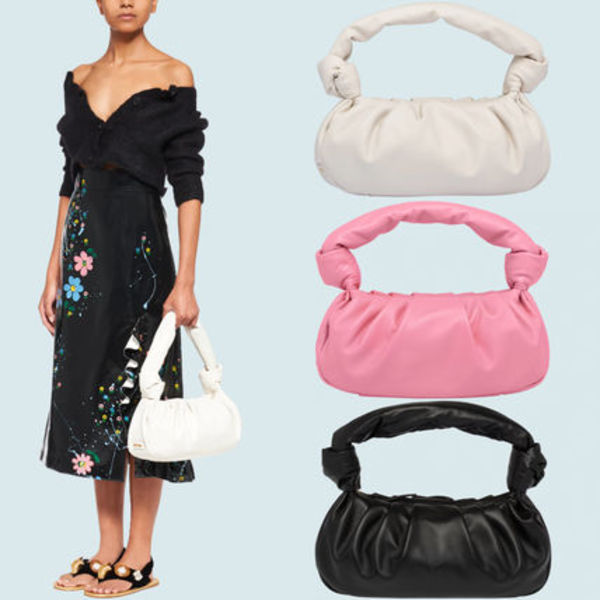 MM1185 NAPPA LEATHER SHOULDER BAG WITH KNOT DETAIL