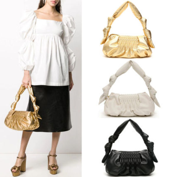 MM1184 NAPPA LEATHER SHOULDER BAG WITH KNOT DETAIL