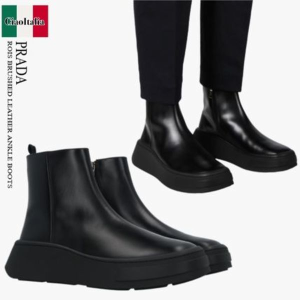 PRADA ROIS BRUSHED LEATHER ANKLE BOOTS