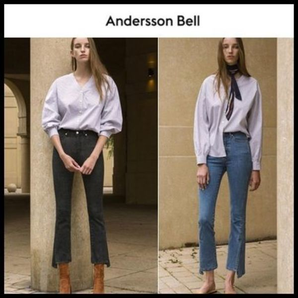 ☆ANDERSSON BELL☆ ジーンズ UNBALANCE SLIT CROP JEANS