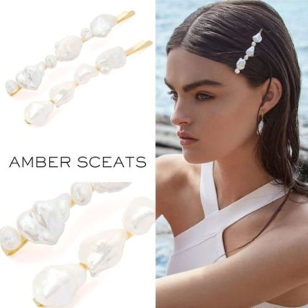 2020SS【Amber Sceats】淡水パールの24金8.5cmヘアピンセット♪