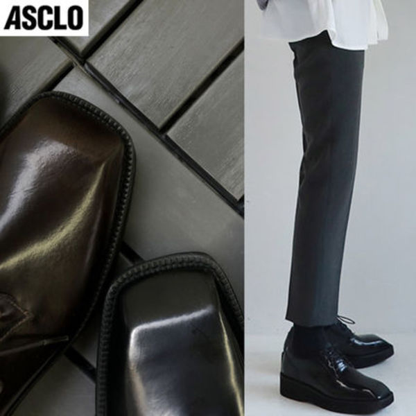 男女共用◆ASCLO◆Real Leather Square Platform Derby Shoes2色