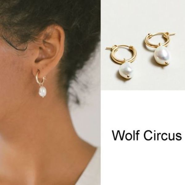 Wolf Circus/淡水パールピアス Small Pearl Hoops in Gold