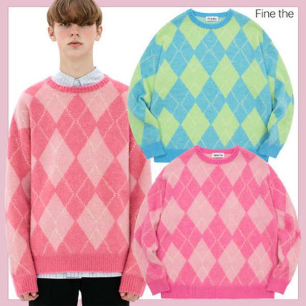 [Fine The] Argyle Mohair Crewneck Knit★韓国の人気