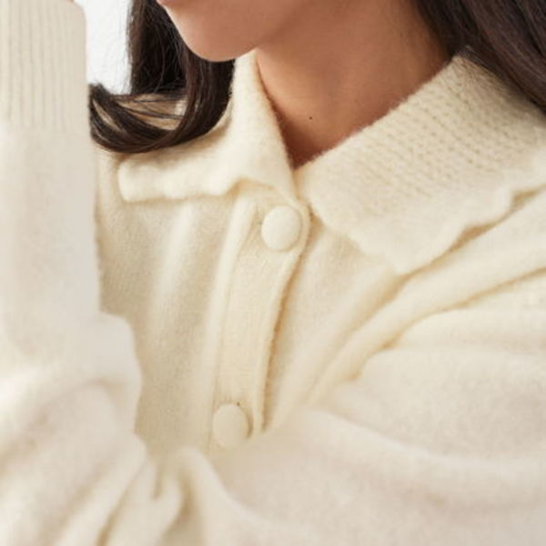 """""""& Other Stories"""" Statement Collar Knit Cardigan White"""