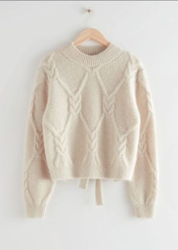 Open Back Cable Knit Sweater / Light Beige