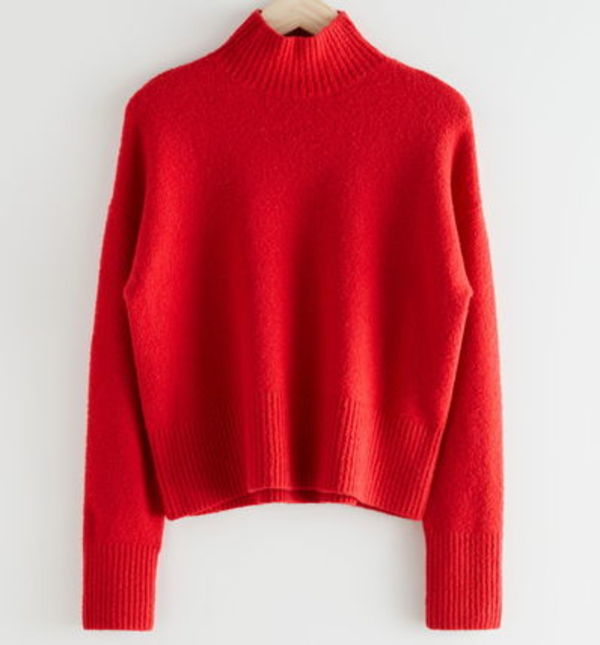 """& Other Stories"" Cropped Mock Neck Sweater Red"