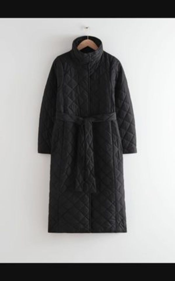 Belted Quilted Coat / Black