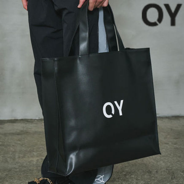 ★OY★LOGO LEATHER SHOPPER BAG-BLACK★正規品/直送料込