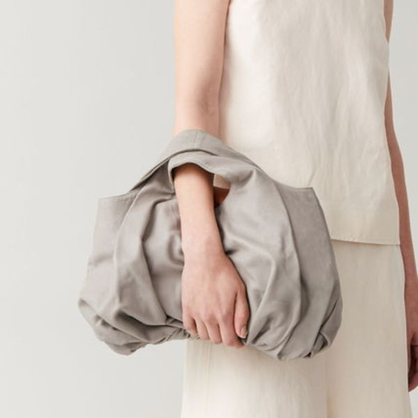 """""""COS"""" SMALL GATHERED LEATHER BAG GRAY"""