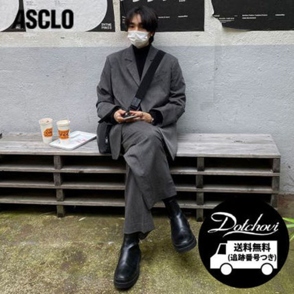 ASCLO three-button over-suit gray set-up CA73 追跡付