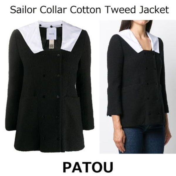 △国内発送・関税込△PATOU△Sailor Collar Cotton Tweed Jacket