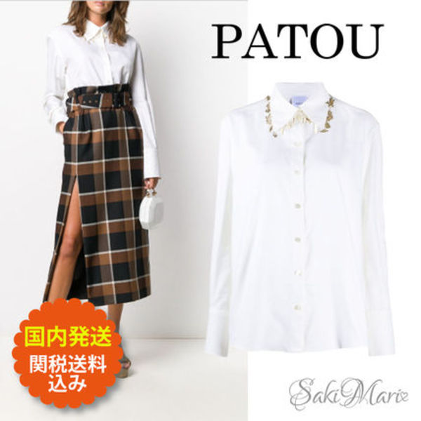 ★PATOU★Charm-embellished cotton shirt◆関税送料込◆