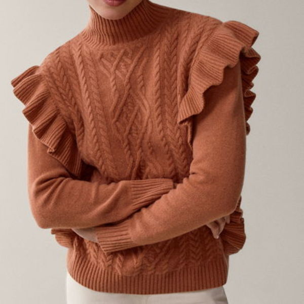 """Massimo Dutti"" Cashmere wool sweater with ruffled trims P"