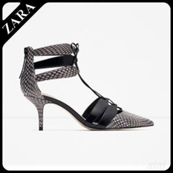 ♪ZARA♪ザラ  PRINTED LEATHER HIGH HEEL SHOES WITH STRAPS