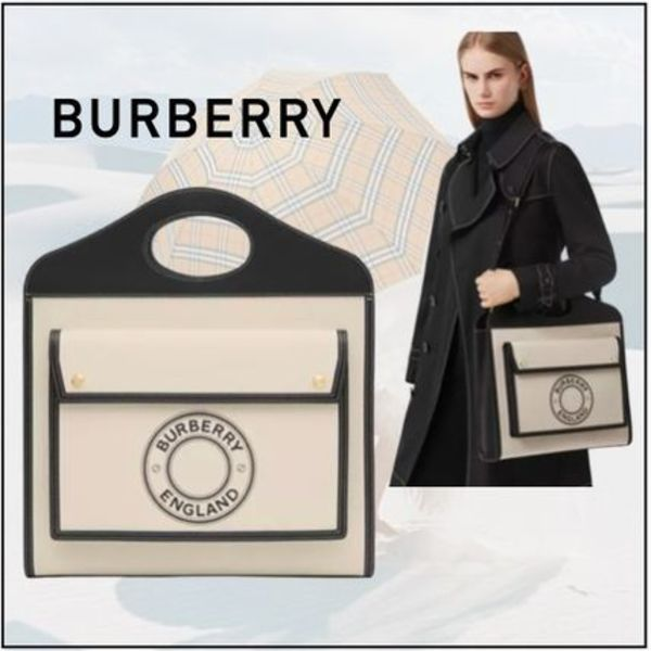 ■BURBERRY■ミディアムロゴキャンバスレザーポケットバッグ