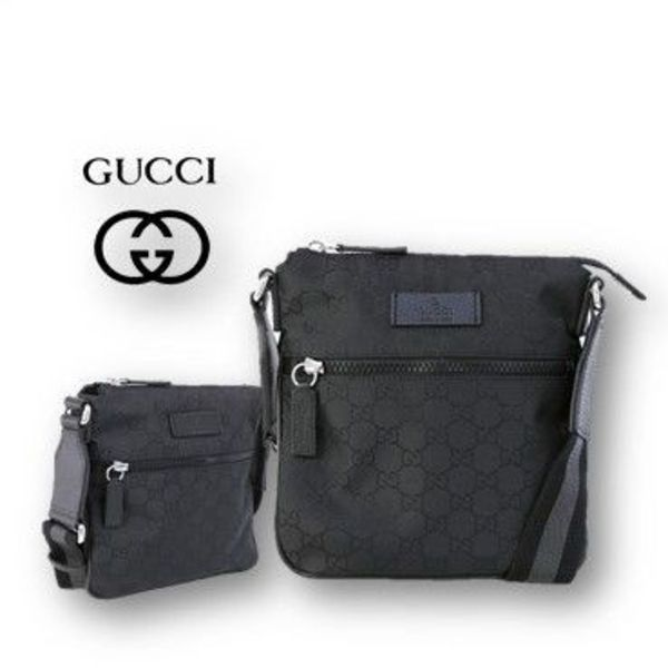 【GUCCI】OUTLET☆ナイロン☆グッチロゴ入り☆ショルダーバッグ