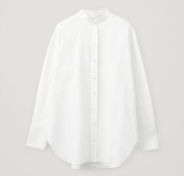 """COS"" COTTON SHIRT WITH DETACHABLE COLLAR 2WAY/WHITE"
