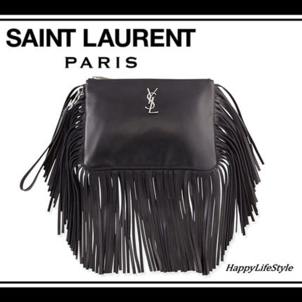 ボリューム感★Fringe Clutch Bag With Monogram★Saint Laurent