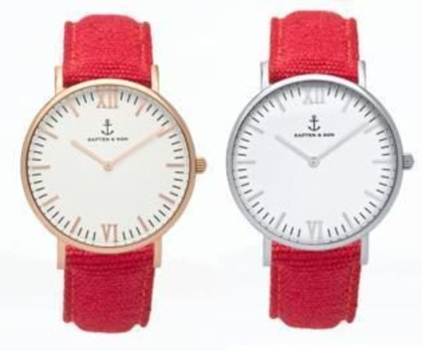 【Kapten & Son】Campus RED Canvas【Gold &Silver】
